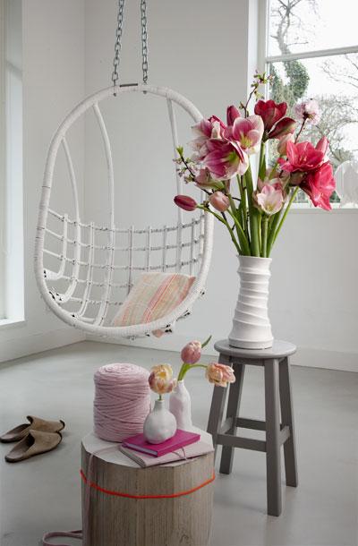 Winterboeket met amaryllis en tulpen