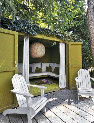 tuinhuis wordt loungehoek