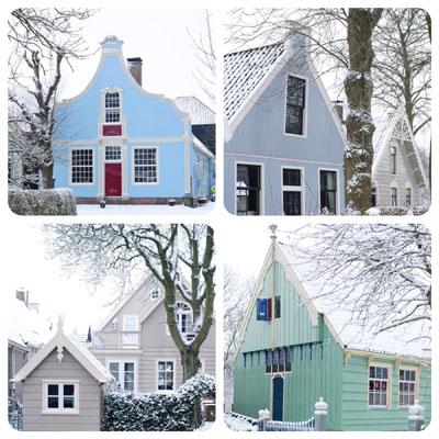 Dorpstuinen in de sneeuw
