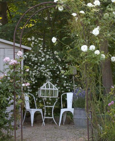 alles is brocante in de tuin, oude rozenboog