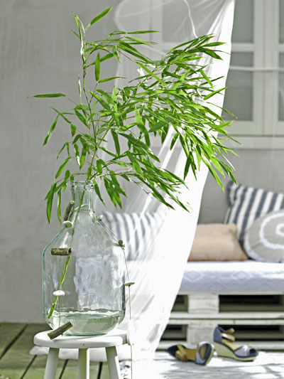 vakantiegevoel in eigen tuin, stengel bamboe in fles