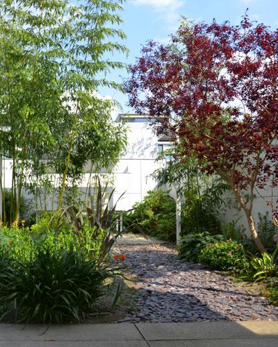 Lichte tuin met schaduwterrassen: pad van gebroken leisteen