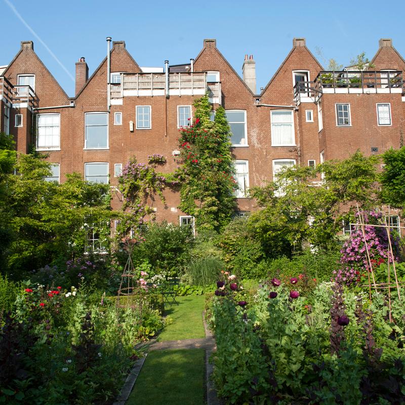 4 huizen, 1 gezamenlijke tuin